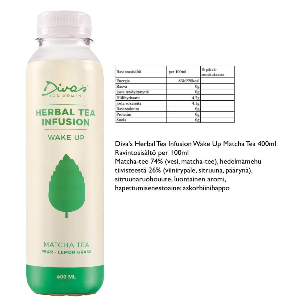 Diva's Herbal Tea Infusion Wake Up Matcha Tea 400ml Ravintosisältö per 100ml  Matcha-tee 74%  (vesi, matcha-tee), hedelmämehu  tiivisteestä 26%  (viinirypäle, sitruuna, päärynä), sitruunaruohouute,  luontainen aromi,  hapettumisenestoaine: askorbiinihappo